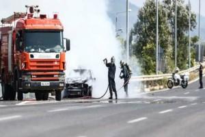Σοβαρό ατύχημα σημειώθηκε στην Εθνική Οδό Θεσσαλονίκη - Κιλκίς: Αυτοκίνητο τυλίχθηκε στις φλόγες!