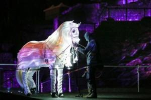 Η φωτογραφία της ημέρας: Εκπαιδευτής προσαρμόζει μία ειδική στολή με φώτα led σε ένα άλογο
