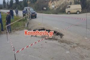 Σοκ: Ο δρόμος κατάπιε απορριμματοφόρο στην ορεινή Κορινθία