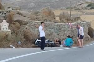 Σκληρές εικόνες από τροχαίο ατύχημα στην Μύκονο! (video)