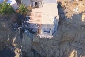 """Το """"εναέριο"""" σπίτι στο Ηράκλειο που κρέμεται στον γκρεμό! (video)"""