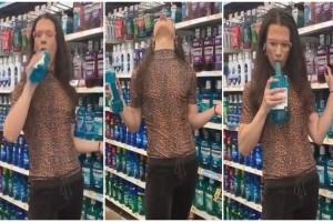 Γυναίκα σε σούπερ μάρκετ, κάνει γαργάρα το Listerine, το φτύνει στο μπουκάλι και το βάζει πίσω στο ράφι! (Video)