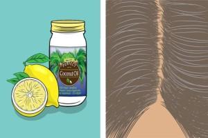 Παίρνει λεμόνι, λάδι καρύδας και τα ανακατεύει στα μαλλιά της! Λίγο μετά...