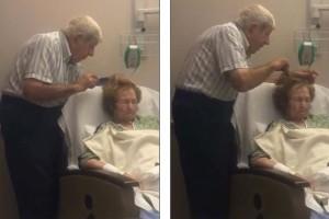 Ηλικιωμένος χτενίζει με αγάπη τα μαλλιά της ετοιμοθάνατης γυναίκας του...Το βίντεο ραγίζει καρδιές!
