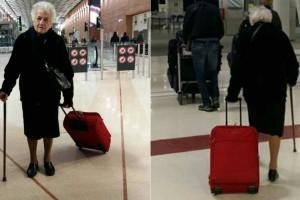 93χρονη γιαγιά ετοίμασε την βαλίτσα της και πήγε στο αεροδρόμιο. Με τον λόγο θα δακρύσετε!