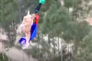 Απίστευτο: Έβαλαν γουρούνι να κάνει bungee jumping και αυτό ήταν το αποτέλεσμα! (video)