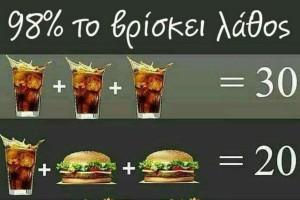 Το κουίζ που δεν μπορεί να λύσει το 98% των ανθρώπων! Η μαθηματική ακολουθία με το μπέργκερ, τις τηγανητές πατάτες και το αναψυκτικό (photo)