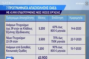ΟΑΕΔ: Όλα τα προγράμματα για 43.900 ανέργους (Video)