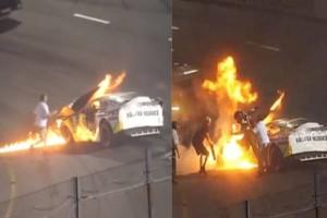 45χρονος πατέρας τρέχει και σώζει το γιο του από αγωνιστικό αυτοκίνητο που τυλίχθηκε στις φλόγες (video)