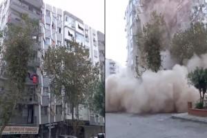 Σεισμός στη Σάμο: Η στιγμή που καταρρέει μια πολυκατοικία (video)