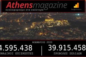 4.595.438 μοναδικοί χρήστες ενημερώθηκαν το Νοέμβριο από το Athensmagazine.gr