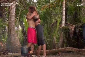 Survivor 4: Κωλοτούμπας Τριαντάφυλλος - Γλείφει την Σαλαγκούδη επειδή βγήκε αγαπημένη παίκτρια (video)
