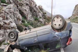 Ανετράπη αυτοκίνητο στην Κρήτη - Στην εντατική ένας 19χρονος