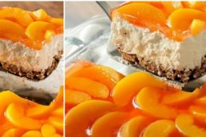 Δροσερό και νόστιμο γλυκό ψυγείου: Μπισκοτένια βάση, αφράτη κρέμα και επικάλυψη με ροδάκινα και ζελέ