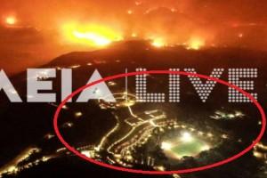 """Ανατριχιαστικό βίντεο με drone από την Ηλεία: Οι φλόγες """"γλείφουν""""  τις εγκαταστάσεις της Διεθνούς Ολυμπιακής Ακαδημίας!"""