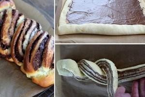 Πανεύκολο ψωμί πλεξούδα με πραλίνα σοκολάτα
