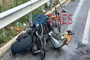 Συναγερμός στη Θεσσαλονίκη: Μηχανή τυλίχτηκε στις φλόγες μετά από τροχαίο - Ένας σοβαρά τραυματίας