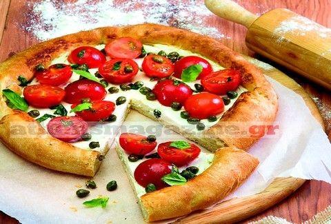 Πίτσα με σάλτσα φέτας και ντοματίνια!
