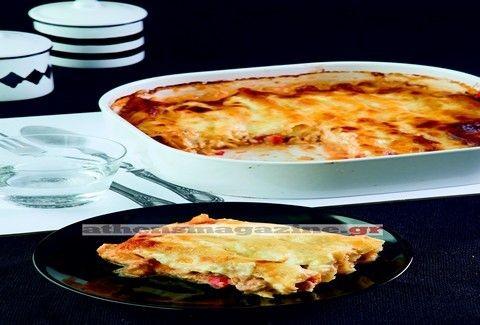 Κανελόνια με μπεκρή μεζέ και σάλτσα γραβιέρας