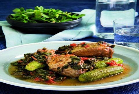 Κοτόπουλο γιαχνί στην κατσαρόλα με γλιστρίδα και κολοκυθάκια!