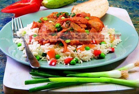 Ρύζι φούρνου με λαχανικά και χοιρινό μπούτι