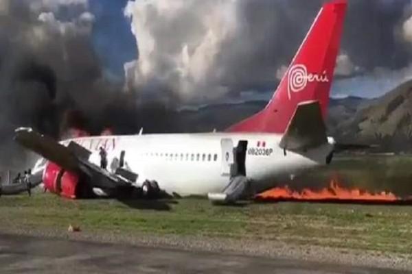 Θρίλερ στο Περού: Αεροπλάνο τυλίχθηκε στις φλόγες κατά την προσγείωση! Από θαύμα ζωντανοί και οι 141 επιβάτες (videos)