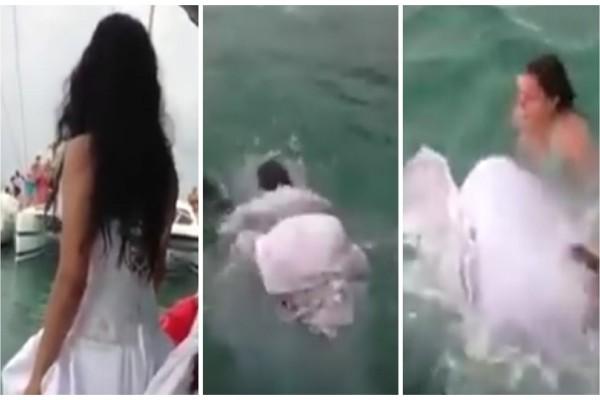Νύφη πηδάει στην θάλασσα και πνίγεται με το νυφικό! Ο γάμος λίγο έλειψε να μετατραπεί σε τραγωδία (video)