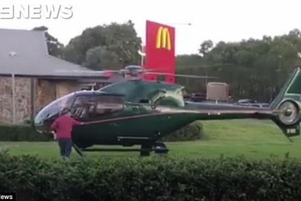 Απίστευτο! Κατέβηκε με το ελικόπτερο έξω από τα McDonald's, αγόρασε fast food και ύστερα ξαναπέταξε (video)