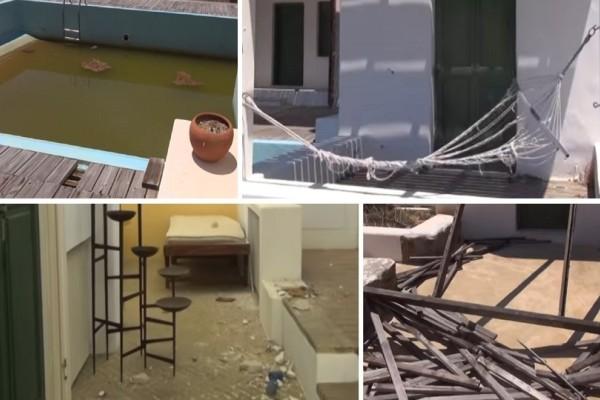 Ερείπιο η ιστορική βίλα του Γαβαλά στην Μύκονο: Εικόνες από το εσωτερικό της (video)