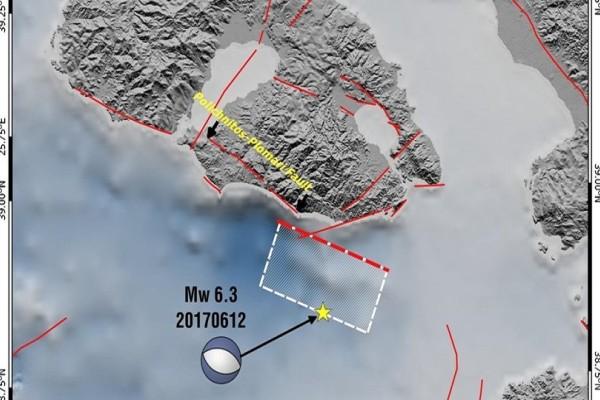 Δείτε την απεικόνιση της περιοχής του ρήγματος του ισχυρού σεισμού νότια του Πλωμαρίου
