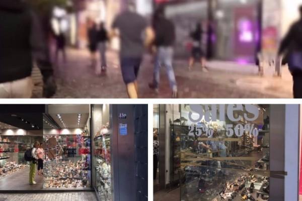 Βίντεο - σοκ: Η στιγμή των βανδαλισμών σε καταστήματα στην Ερμού! Ανενόχλητοι οι κουκουλοφόροι έκαναν την... δουλειά τους! (photos)