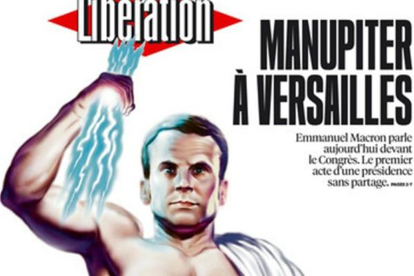 Ο Μακρόν ως άλλος Δίας στο εξώφυλλο της Liberation!