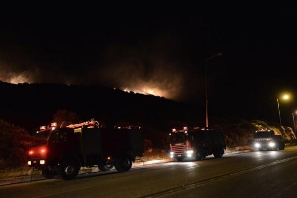 Ολονύχτια μάχη με τις φλόγες στα Καλύβια: Επιχείρηση από αέρος για την κατάσβεση της πυρκαγιάς!