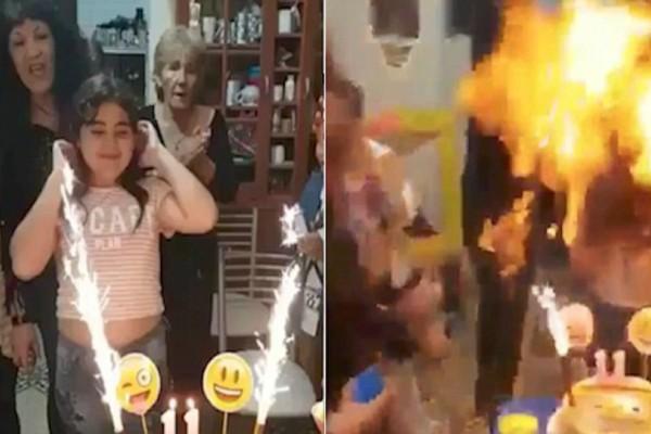 Δυστυχώς, αυτά τα γενέθλια θα της μείνουν αξέχαστα: Έσβηνε το κερί και...πήρε φωτιά! (video)