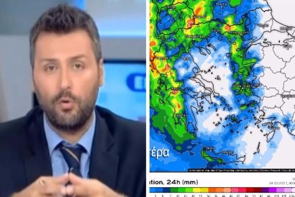 Ο Γιάννης Καλλιάνος προειδοποιεί: Βαρυχειμωνιά τις επόμενες ώρες! Ραγδαία αλλαγή του καιρού