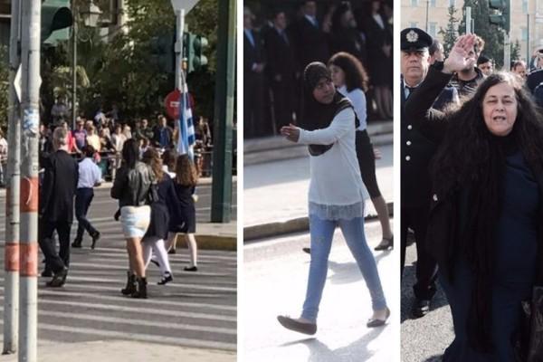 Μαθητική παρέλαση Σύνταγμα: Μίνι, παραδοσιακές στολές, μαντίλες και... Ελένη Λουκά! (photos)