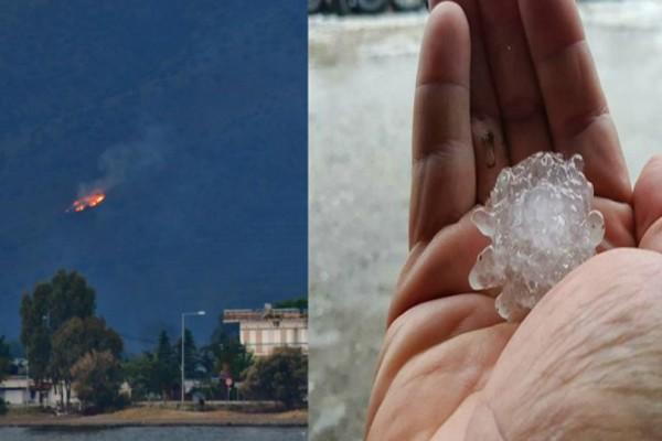Συγκλονιστικές φωτογραφίες από την Αργολίδα: Φωτιά από κεραυνό και ισχυρή χαλαζόπτωση!