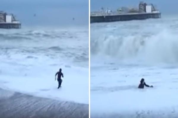 Συγκλονιστικό βίντεο: Έδωσε μάχη με τα κύματα για να σώσει τον σκύλο της!
