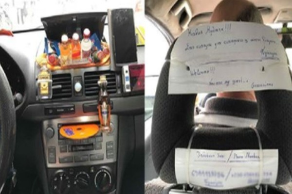 Ταξιτζής στην Αθήνα κερνάει τους πελάτες του καφέ, τυρόπιτα ακόμη και ποτάκι! (photos)