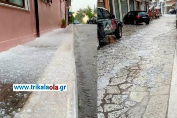 Απίστευτο: «Έστρωσε» χαλάζι στα Τρίκαλα! Φοβερές εικόνες (video)