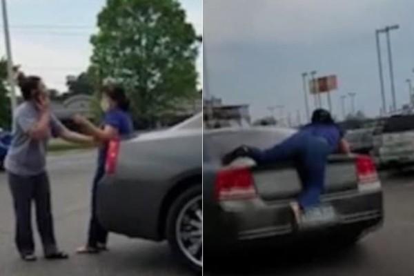 Απίστευτο βίντεο: Γυναίκα γαντζώθηκε σε αυτοκίνητο έπειτα από έναν άγριο καβγά!