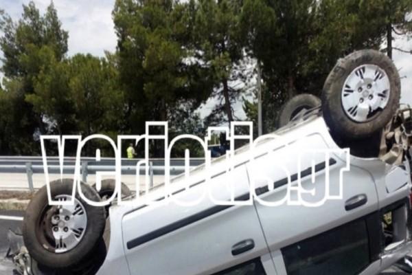 Τροχαίο σοκ στην Εγνατία Οδό! - Αυτοκίνητο τούμπαρε στην μέση του δρόμου!