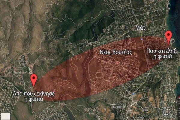 Σοκάρει ο χάρτης της... τραγωδίας: Σαν ποτάμι λάβας εξαπλώθηκε η πυρκαγιά στο Μάτι!