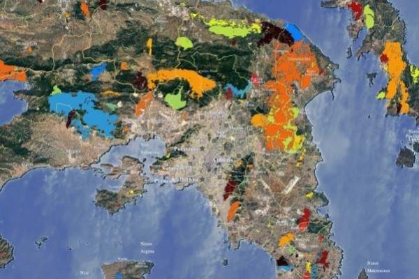 Χάρτης - σοκ: Οι περιοχές της Ελλάδας που έχουν καεί από το 1984!