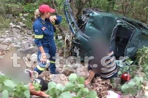Από θαύμα ζει ζευγάρι στην Ευρυτανία - Το όχημά τους έπεσε σε γκρεμό 120 μέτρων (photos)