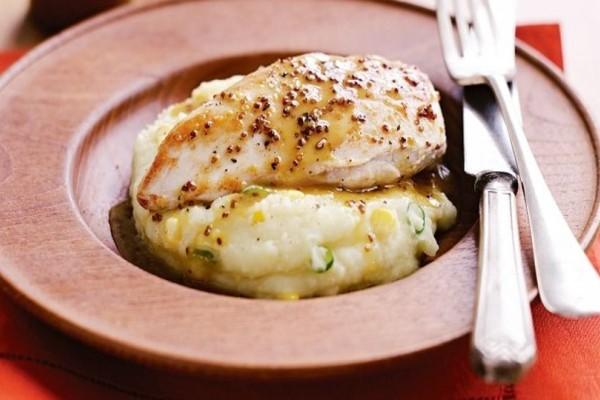 Κοτόπουλο με σάλτσα μουστάρδας και μελιού και πουρέ με λαχανικά!