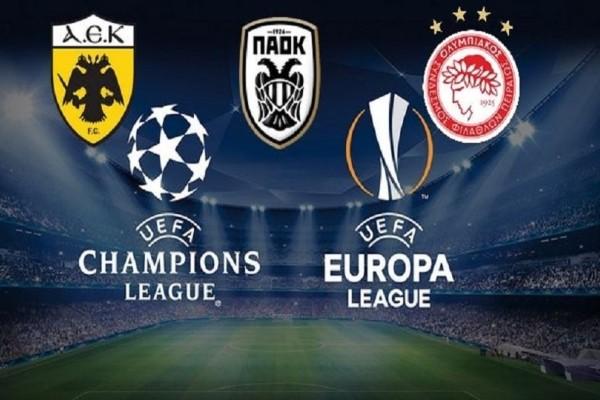 Πού θα δείτε τους ευρωπαϊκούς αγώνες ΑΕΚ, Ολυμπιακού και ΠΑΟΚ!