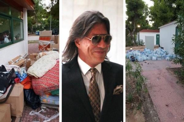 Ξεφτίλα: Ο Ηλίας Ψινάκης πέταξε στον δρόμο τα πράγματα που μαζεύτηκαν για τους πυρόπληκτους! (photos)