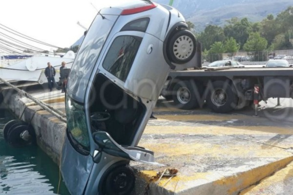 Κρήτη: Αναστάτωση στο λιμάνι της Σούδας! Αυτοκίνητο έπεσε στο λιμάνι (Photos)