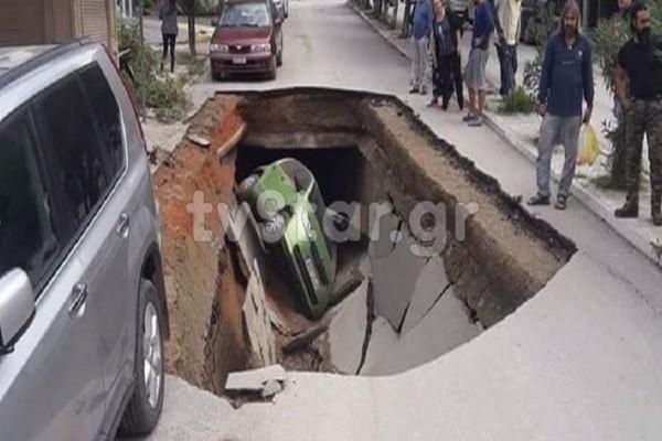 Αιδηψός: Άνοιξε η γη και κατάπιε αυτοκίνητο! (photos)